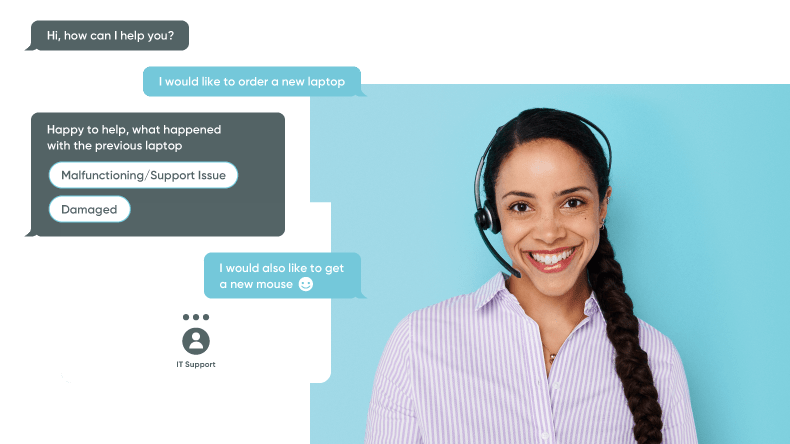 A service provider IT specialist uses an instant chat feature to address customer service needs.
