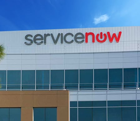 ServiceNow Logo on Company Building